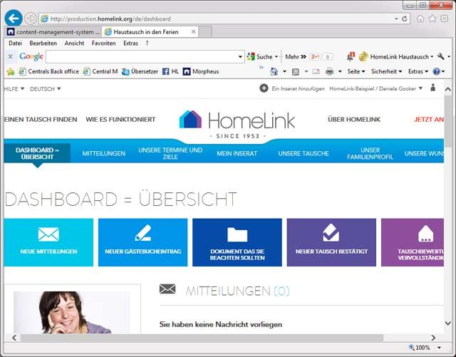 HomeLink Haustausch Dashboard